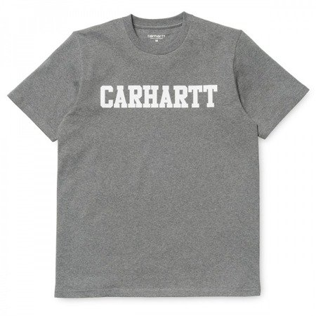 CARHARTT Koszulka S/S College T-Shirt Dark Grey Heather/White - FW17